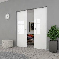 Drzwi Szklane Przesuwne 130(2X65) VSG Białe FLOAT KASETA