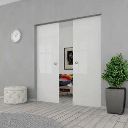 Drzwi Szklane Przesuwne 150(2X75) VSG SATYNA KASETA