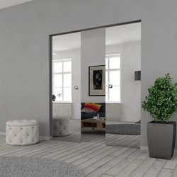 Drzwi Szklane Przesuwne 190(2X95) VSG LUSTRO/LUSTRO KASETA