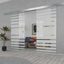 Drzwi Szklane Przesuwne 200(2X0100) GEO3 SILVER