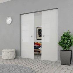 Drzwi Szklane Przesuwne 210(2X105) GEO SATYNA KASETA