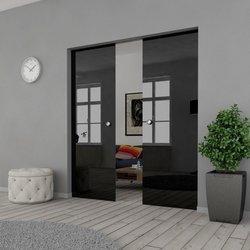 Drzwi Szklane Przesuwne 210(2X105) VSG CZARNE KASETA