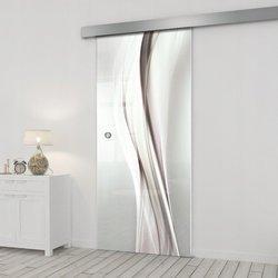 Drzwi Szklane Przesuwne 75 GR-H018 SILVER