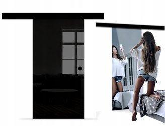 Drzwi Szklane Przesuwne 85 LUSTRO/CZARNE NERO