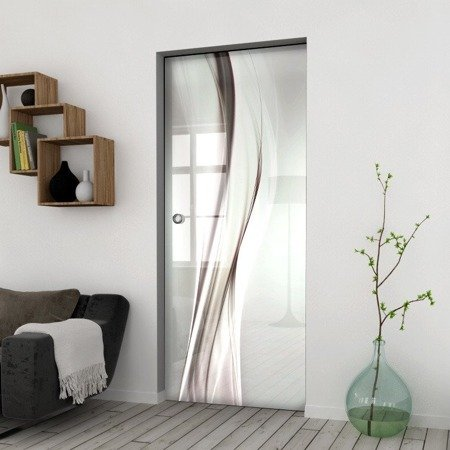Drzwi Szklane Przesuwne 1050X2095 8MM ESG/VSG GRAFIKA 2STR GR-H015 + KASETA