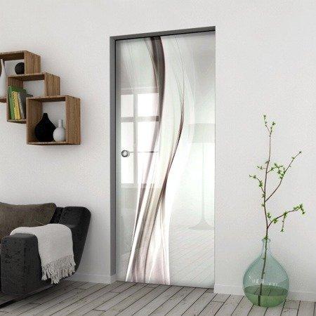 Drzwi Szklane Przesuwne 1050X2095 8MM ESG/VSG GRAFIKA 2STR GR-H016 + KASETA