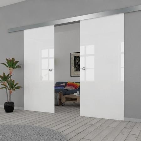 Drzwi Szklane Przesuwne 170(2X85) VSG BIAŁE FLOAT SILVER