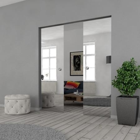 Drzwi Szklane Przesuwne 200(2X100) VSG LUSTRO/LUSTRO KASETA
