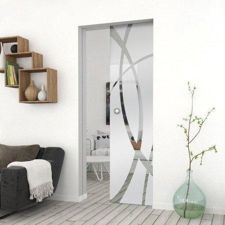Drzwi Szklane Przesuwne 650X2095 8MM ESG GEO14 + KASETA