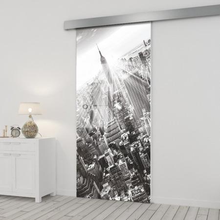 Drzwi Szklane Przesuwne 650X2095 8MM ESG/VSG GRAFIKA 2STR GR-H06 + SYSTEM PRZESUWNY