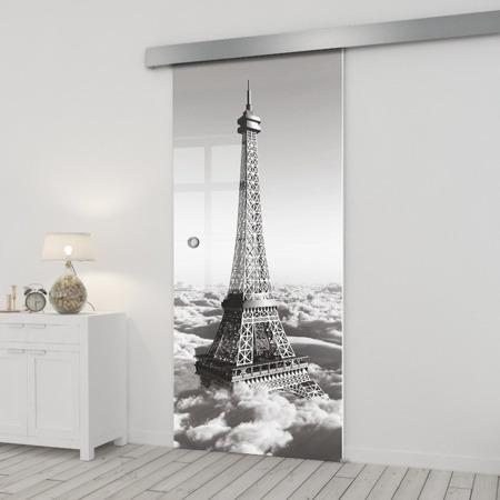 Drzwi Szklane Przesuwne 750X2095 8MM ESG/VSG GRAFIKA 2STR GR-H015+SYSTEM PRZESUWNY