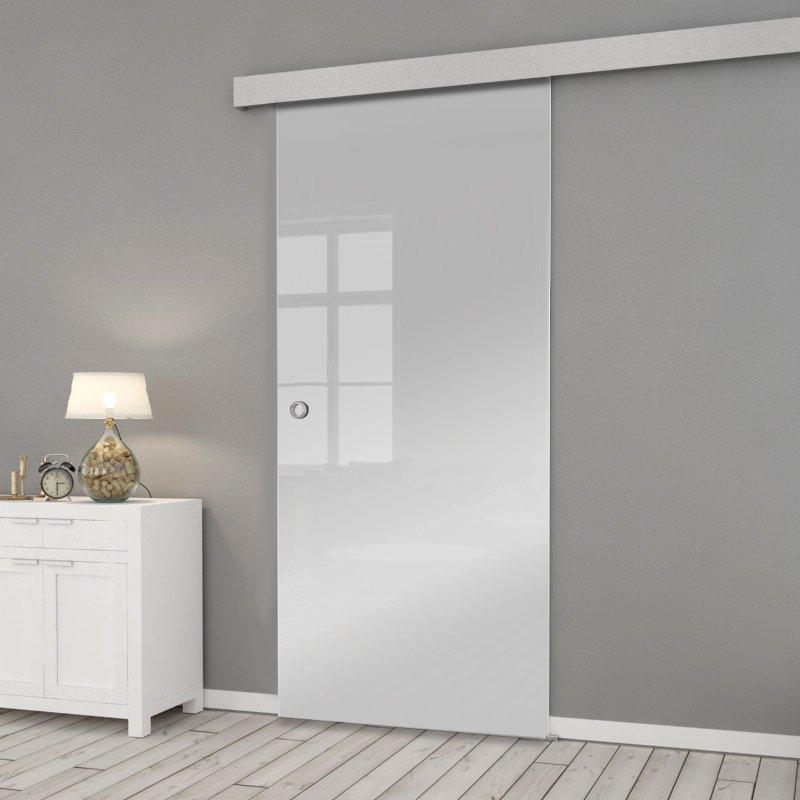 Drzwi Szklane Przesuwne 85 GEO SATYNA SILVER