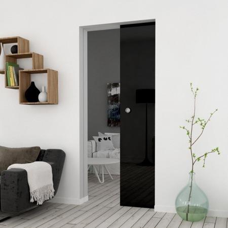 Drzwi Szklane Przesuwne 850X2095 8MM ESG/VSG CZARNE + KASETA