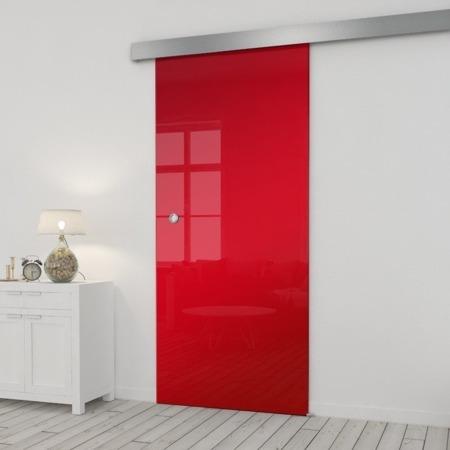 Drzwi Szklane Przesuwne 850X2095 8MM ESG/VSG CZERWONE+ SYSTEM PRZESUWNY