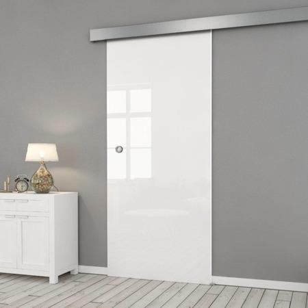 Drzwi Szklane Przesuwne 850X2095 8MM FLOAT ESG/VSG BIAŁE + SYSTEM PRZESUWNY