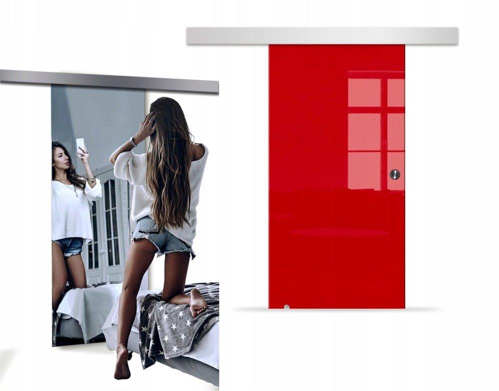 Drzwi Szklane Przesuwne 95 VSG LUSTRO/CZERWONE SILVER