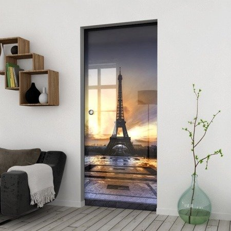 Drzwi Szklane Przesuwne 950X2095 8MM ESG/VSG GRAFIKA 2STR GR-H03 + KASETA