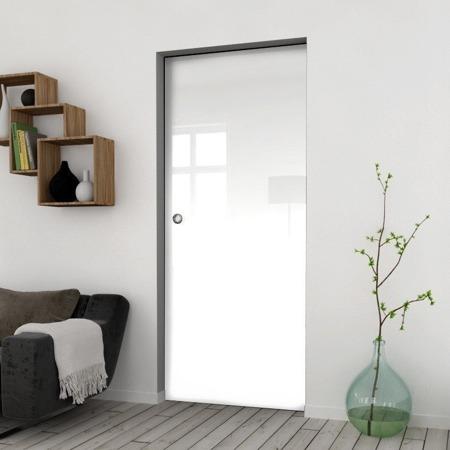 Drzwi Szklane Przesuwne 950X2095 8MM FLOAT ESG/VSG BIAŁE + KASETA