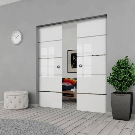 Drzwi Szklane Przesuwne PODWÓJNE 2100X2095 8MM ESG GEO11 + KASETA